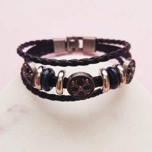 Jewelry - 5 for $25 Black Faux Leather Bracelet